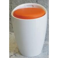 Puf DUCK, blanco/naranja