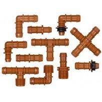 Accesorios tubería PE 16 mm marrón