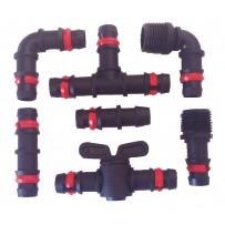 Accesorios tubería PE 16 mm negro con anilla seguridad