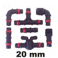 Accesorios tubería PE 20 mm negro con anilla seguridad