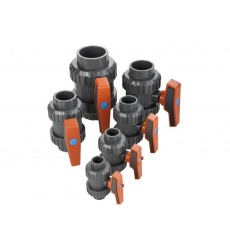 Válvula de bola en PVC U con extremos para roscar